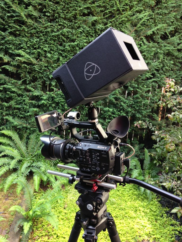 Atomos Shogun Flame with sun shade on Sony FS5