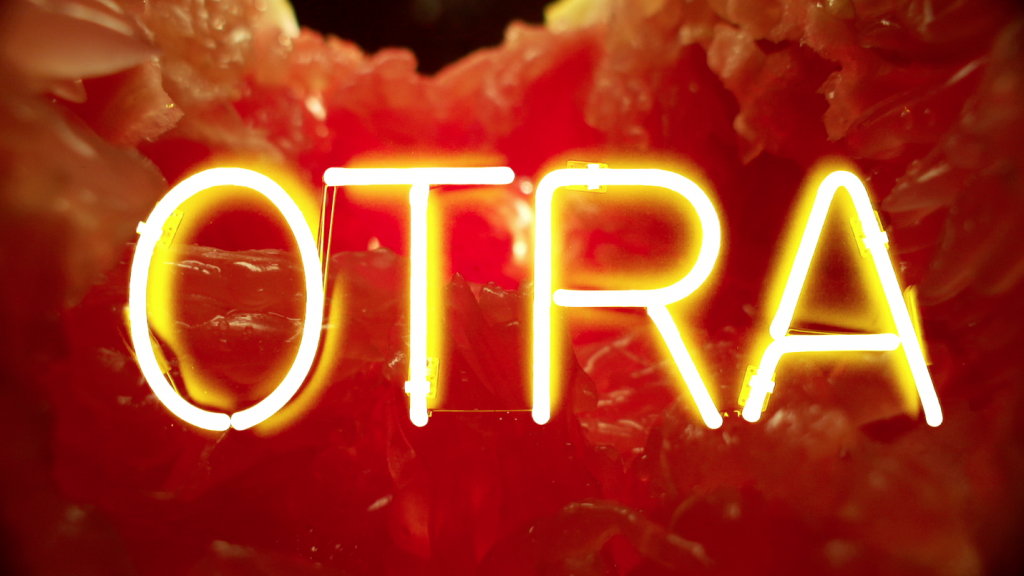 composited grapefruit with neon sign