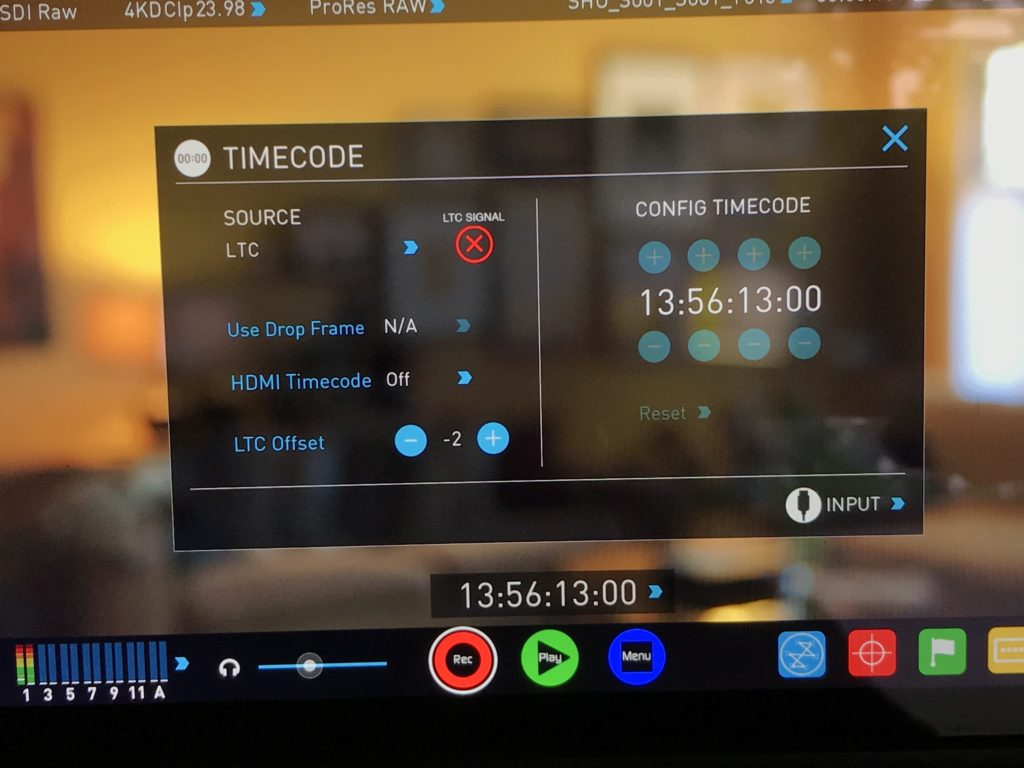 Shogun Inferno's timecode controls allow offsetting the TC signal. I find a -2 offset works best.